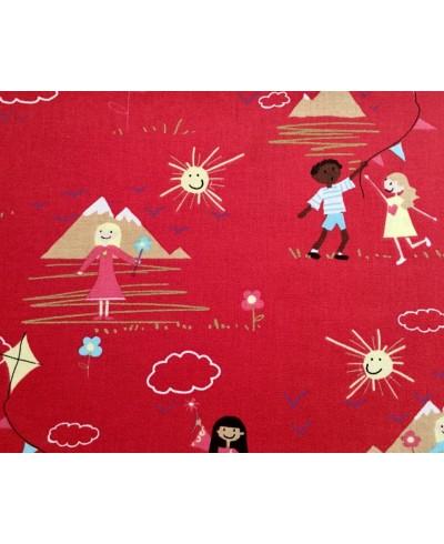 Tkanina bawełniana-zabawa dzieci na czerwonym