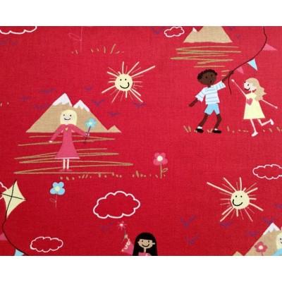 Tkanina bawełniana-zabawa dzieci na czerwonym latawce kwiaty