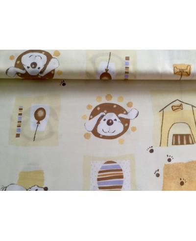 Tkanina dekoracyjna -pieski na ecru