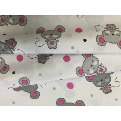 Bawełna 160 cm wzór myszka różowe ucho