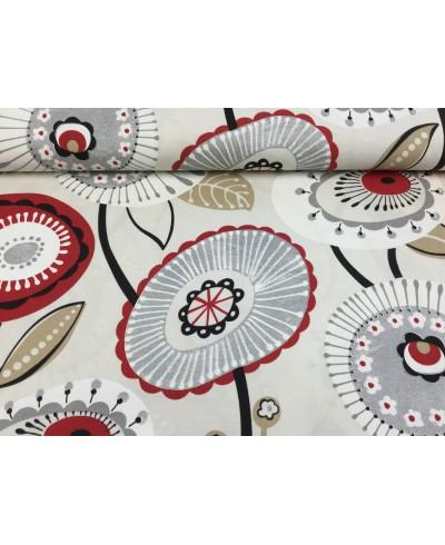 Tkanina dekoracyjna kwiaty na beżu
