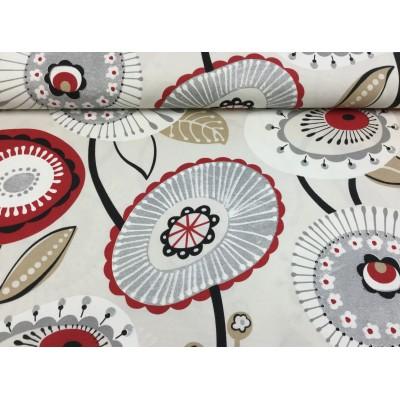 Tkanina dekoracyjna kwiaty czerwono szare na beżu szer 280 cm