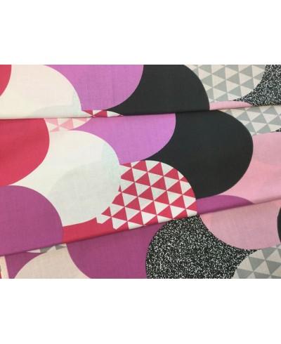 Bawełna  160 cm wzór krople różowe