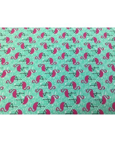 Dzianina jersey elastan Flamingi