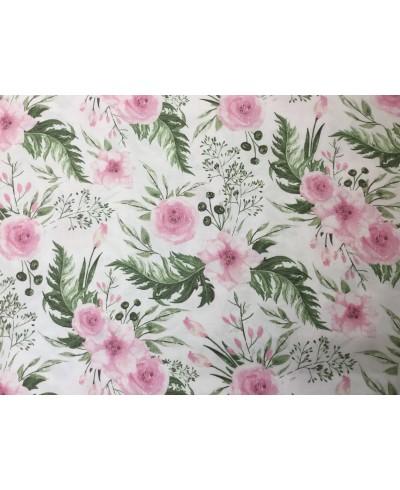 Bawełna 160 cm wzór Garden różowo-zielony