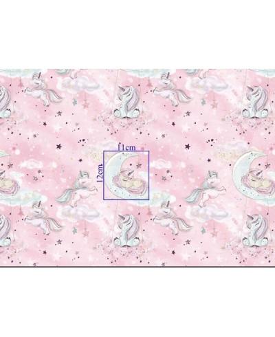 Tkanina bawełniana exclusive- 160 cm Złote Jednorożce na różu