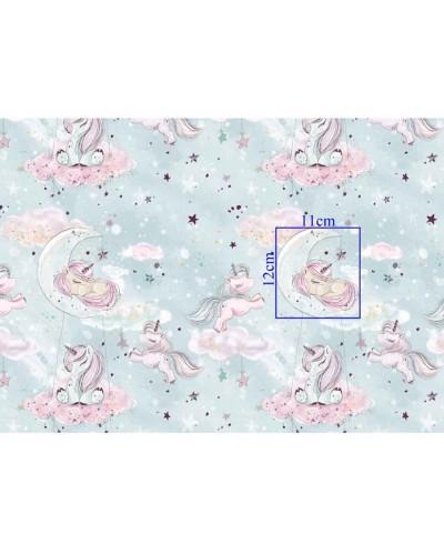 Tkanina bawełniana exclusive 160 cm-Jednorożce na mięcie