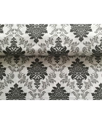 Tkanina bawełniana pościelowa 220 cm-fresk czarno-szary na białym