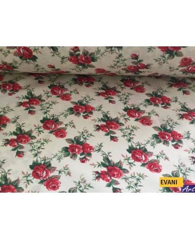 Tkanina bawełniana pościelowa 160 cm-czerwone róże na kremowym