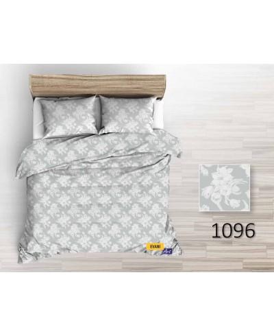 Tkanina bawełniana pościelowa -220 cm kwiaty białe na jasno szarym-1096