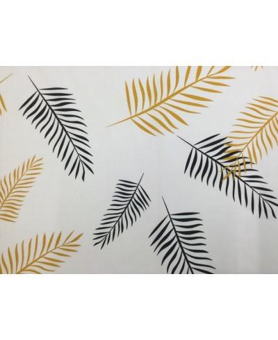 Tkanina bawełniana 220 cm Liście czarno-żółte na białym