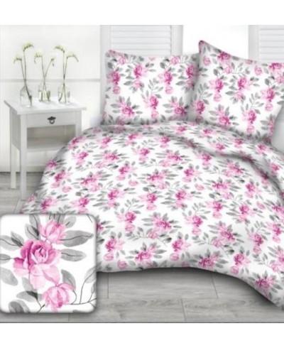 Tkanina bawełniana 160 cm-kwiaty różowe na białym-E820