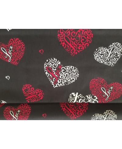 Tkanina bawełniana 160 cm-Serca czerwone na czarnym