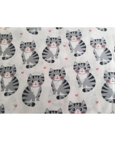 Bawełna 160 cm koty  szare na białym