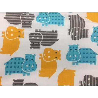 Bawełna 160 cm hipcie żółte niebieskie paski kropki