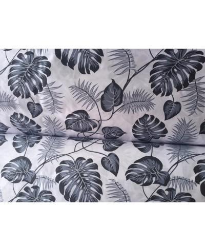 Tkanina bawełniana 160 cm grafitowe liście palm na białym