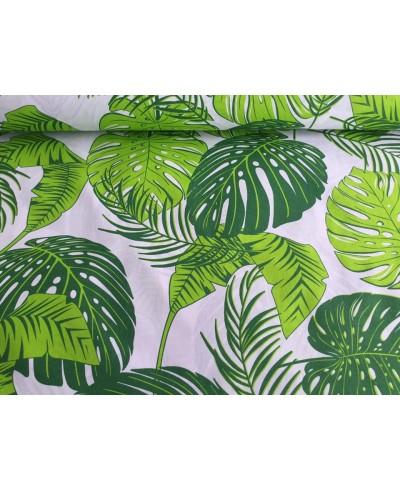 Tkanina bawełniana 160 cm duże zielone liście palm na białym 089