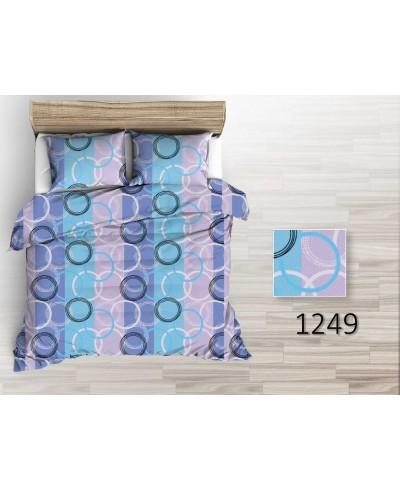 Tkanina bawełniana pościelowa 220 cm koła biało-czarne na pasach wrzosowo-niebieskich  1249