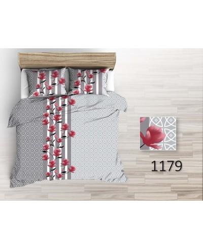 Tkanina bawełniana pościelowa 220 cm czerwone kwiaty magnolii na  szarych wzorach  1179