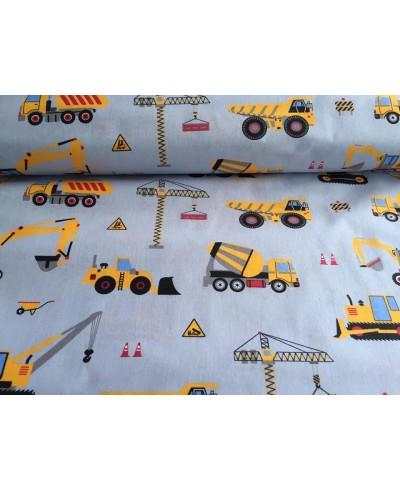 Tkanina bawełniana 160 cm-maszyny budowlane żółte na szarym tle  098
