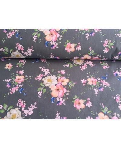 Tkanina bawełniana 160  cm-Kwiat jabłoni na graficie-090