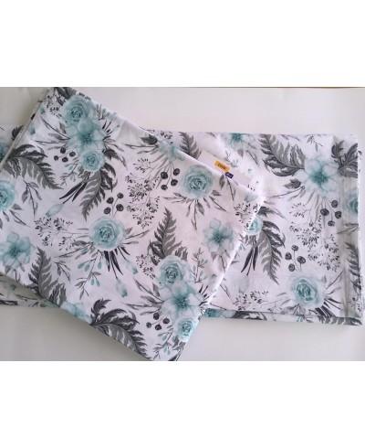 Zasłony bawełna in garden komplet -szaro-turkusowy 225 x 156