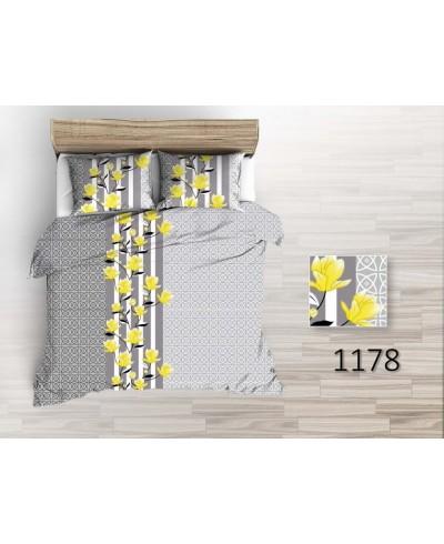 Tkanina bawełniana pościelowa 220 cm żółte kwiaty magnolii na szarych wzorach  1178
