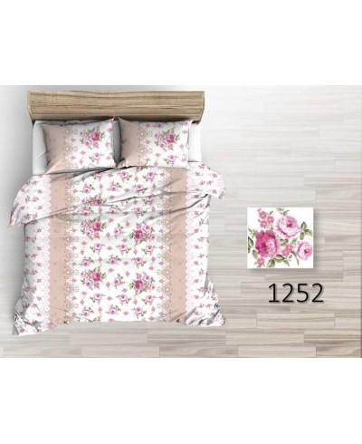 Tkanina bawełniana pościelowa 220 cm bukiety róż na białym we wzory 1252