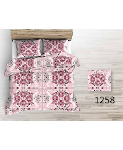 Tkanina bawełniana pościelowa 220 cm różowe wzory kwiatowe na pudrowym różu-1258