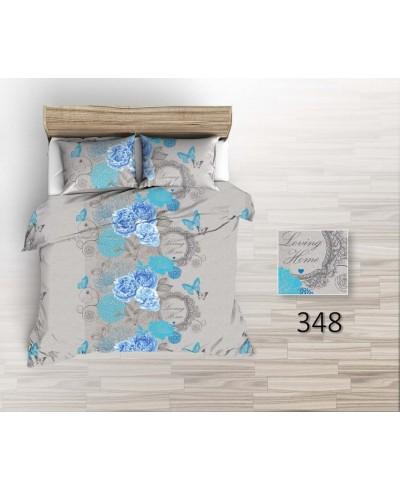 Tkanina bawełniana pościelowa 220-duże kwiaty niebieskie z motylkami na szarym-Loving Home 348