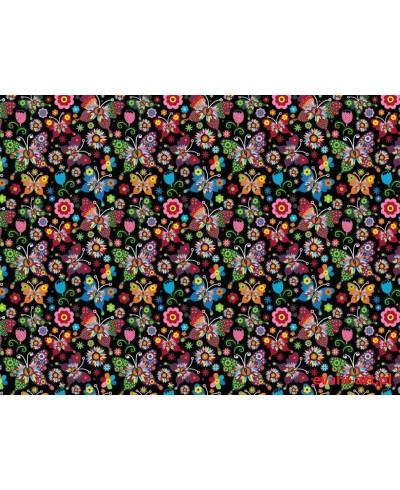 Tkanina bawełniana 160 cm kolorowe motyle nocą 922
