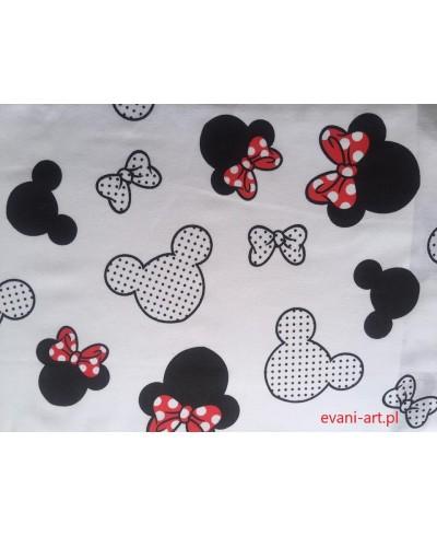 Tkanina bawełniana 160 cm Myszka miki czerwona kokardka na białym-529