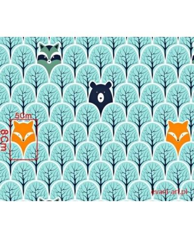 Tkanina bawełniana 160 cm Zwierzęta  las turkusowy A kuku-377