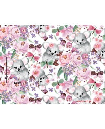 Tkanina bawełniana 160 cm-Miś koala w kwiatach-90