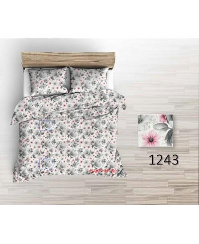 Tkanina bawełniana pościelowa 220 cm Magnolie szaro-różowe na białym 1243
