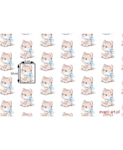 Tkanina bawełniana 160 cm Kotki z niebieską kokardką na białym 069