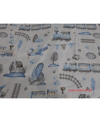 Tkanina bawełniana  160 cm- pociąg niebieski na bieli  469
