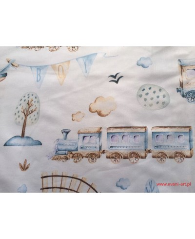 Tkanina bawełniana 160 cm- pociąg beżowy na bieli 569