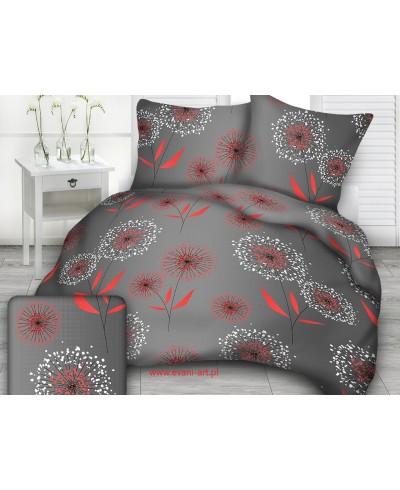 Tkanina bawełniana 160 cm dmuchawce  czerwono-białe na ciemno szarym 679