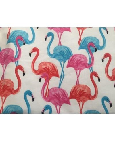 Tkanina bawełniana 160 cm flamingi kolorowe na białym