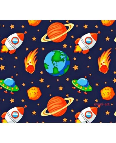 Bawełna 160 cm Kosmos pomarańczowy na granacie-340