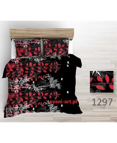 Tkanina bawełniana 160 cm-liście czerwono białe na czarnym 1297
