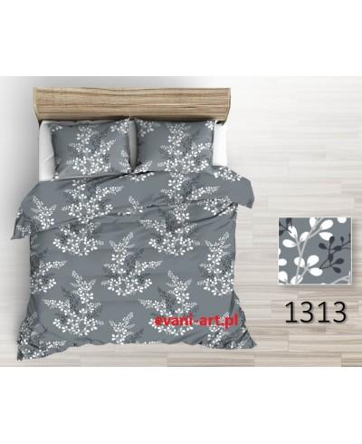 Tkanina bawełniana 220 cm-pęki listków biało-czarnych na szarym 1313