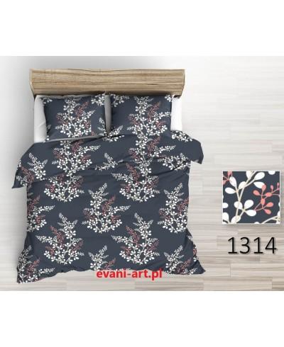 Tkanina bawełniana 220 cm-pęki listków biało-beż-łosoś na graficie 1314