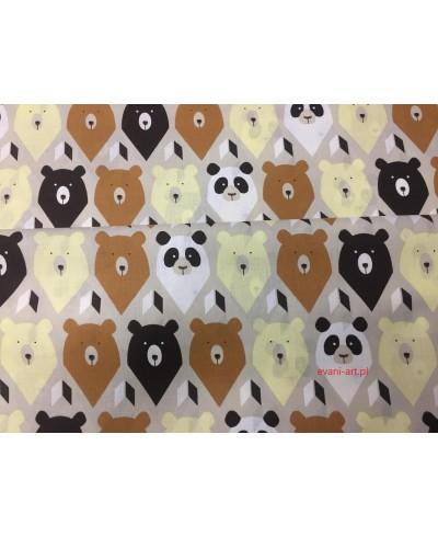 Tkanina bawełniana 160 cm-Zwierzaki pandy brązowo-beżowo-białe na jasnym beżu