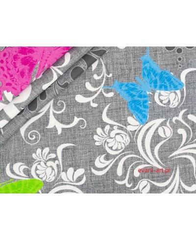 Tkanina bawełniana 160 cm Kolorowe motyle na szarym
