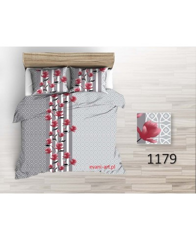 Tkanina bawełniana pościelowa 220 cm-czerwone magnolie na szarych wzorach-1179