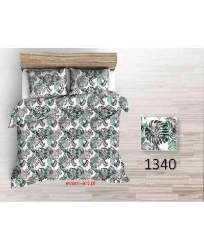 Tkanina bawełniana  220 cm liście palmy szaro czarno zielone na białym 1340