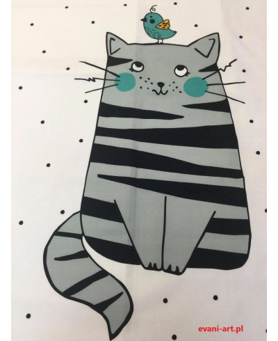 Panel kocykowy Kot pasy szaro czarne ptaszek 75 x 100-gat.2
