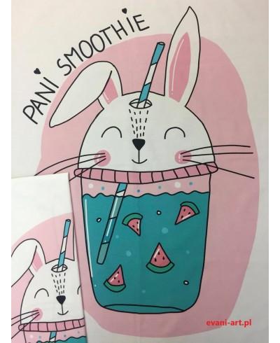 Panel kocykowy 75 x 100 + panel poduszkowy 50 x 50 Pani Smoothie królik różowy